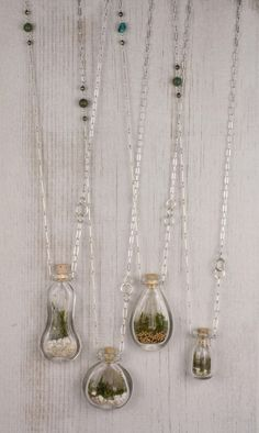 Terrarium necklaces by #SCAD. These would be great to make with sand and tiny…