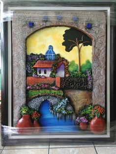 Polymer Clay Painting, Polymer Clay Crafts, Ceramic Painting, Stone Painting, Clay Wall Art, 3d Wall Art, Clay Art, Framed Wall Art, Mural Painting