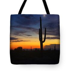 """Sonoran Desert By The Light of the Moon  Tote Bag 18"""" x 18"""""""