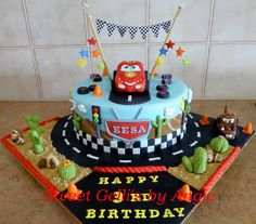 Lightning McQueen Cake by Sweet Gelli's by An
