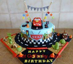 Lightning McQueen Cake by Sweet Gelli's by An