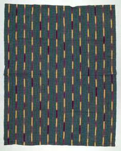 Africa | Wrapper ~ aso oke ~ from the Yoruba people of Nigeria | ca. mid 20th century | Cotton.
