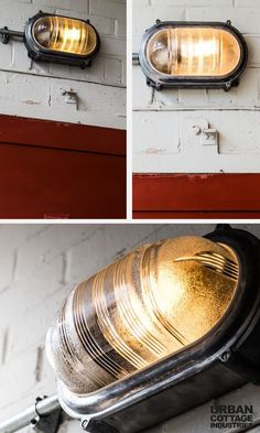 Here is an industrial style wall light you can use for bathroom lighting or outdoor lighting. It has a prismatic glass cover too and is very sturdy. Click to shop. Free shipping. #lighting #lights #outdoorlights