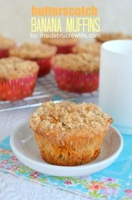 Butterscotch Banana Muffins  - easy banana muffins made from a cake mix and butterscotch chips