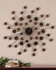 Love the sunburst clock....love the black and brown color combo!