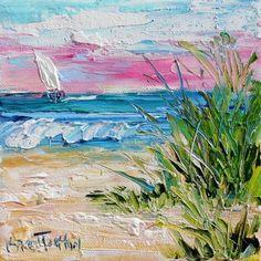 Original oil palette knife painting Beach Morning Sunrise 6x6 by Karensfineart: #OilPaintingKnife #OilPaintingOleo