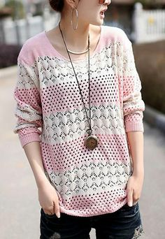 [grls76000060]Leisure Sweet Stripe Pattern Cutout Knit Sweater