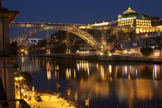 Porto at night Sydney Harbour Bridge, Spaces, Explore, Night, Travel, Porto, City, Viajes, Destinations