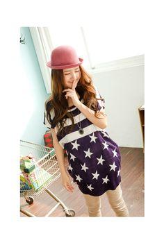 Purple Star Pattern Top, iAnyWear