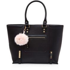 Black Pom Pom Keyring Tote Bag ($37) ❤ liked on Polyvore featuring bags, handbags, tote bags, handbags totes, tote handbags, pom pom key rings, tote hand bags and tote purses