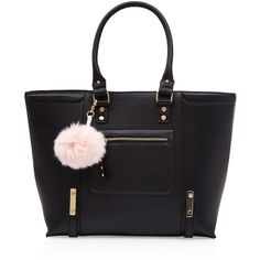 Black Pom Pom Keyring Tote Bag ($37) ❤ liked on Polyvore featuring bags, handbags, tote bags, handbags totes, tote handbags, pom pom key rings, tote hand bags and tote purses