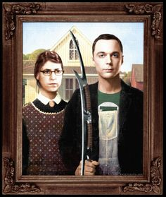 "A Big Bang Theory photomanipulation parody of Grant Wood's ""American Gothic"" with Sheldon and Amy. I think the Bat'leth is a nice touch if I do say so myself. Email me for PRINT INFO! Rabittooth@ao..."