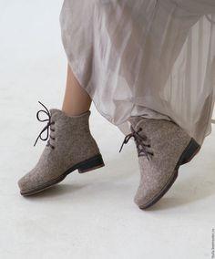 """Купить Валяные ботинки """"Дыхание города"""" - бежевый, натуральные оттенки, природные оттенки шерсти"""