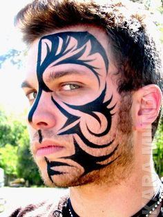 Face Paint Half Face Tribal #Painted Body #Paint Body| http://paint-body.blogspot.com