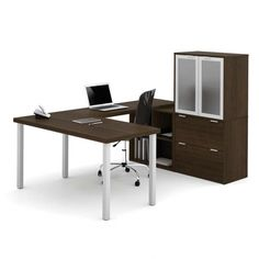 The Bestar U-Shaped Desk with Hutch is full of style and convenient details. This desk and hutch are constructed of durable commercial-grade particle. Home Office Desks, Home Office Furniture, U Shaped Office Desk, Metal Desk Legs, Frosted Glass Door, Glass Doors, Work Station Desk, Desk Hutch, Nebraska Furniture Mart
