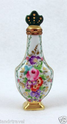 Authentic French Limoges Box Floral Vase Perfume Bottle.