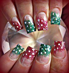 Xmas polka dot acrylic nails