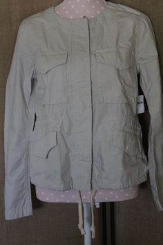 JACKET! Womens Gap size M Tan Anorak style with a linen look #GAP #Anorak