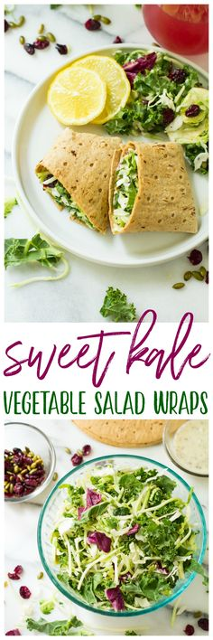 Take your sandwiches and wraps up a notch with these fully loaded Sweet Kale Vegetable Salad Wraps! Packed with fresh vegetables, dried cranberries, roasted pumpkin seeds and a delicious poppyseed dressing, these low calorie, high flavor wraps are the perfect vegetarian and gluten-free lunch or dinner! #EatCleanSalads #IC #ad