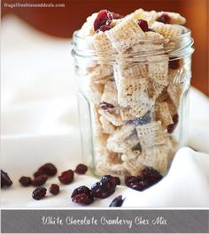 White Chocolate Cranberry Chex Mix  http://www.frugalfreebiesanddeals.com/white-chocolate-cranberry-chex-mix/ (Vegan Chex Mix)
