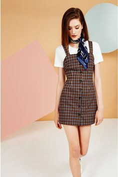 Joy Arabella Button Front Check Pinafore Dress