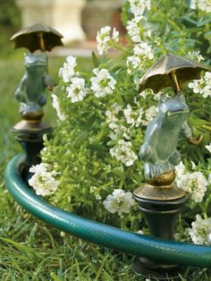 Stake several of these decorative finials along the landscaping, and a heavy hose will smoothly glide wherever needed, without trampling your green thumb efforts.
