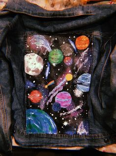 Excited to share this item from my etsy shop glow in the dark hand painted space jean jacket sowohl die jeansjacke als auch die jeansshorts sind absolute disney patch perfektion! l absolute disney jeansjacke jeansshorts patch perfektion sowohl Painted Denim Jacket, Painted Jeans, Painted Clothes, Hand Painted, Diy Clothes Paint, Painted Shorts, Diy Clothing, Custom Clothes, Space Clothing
