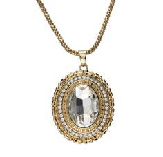 Colar longo dourado medalhão brilhante R$24