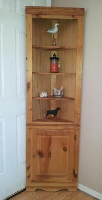 SOLD - tall Pine corner cabinet display shelves & roomy bottom storage area w/door. Cabinet is across the front and deep. Accessories not included. Corner Shelves, Display Shelves, Colonial Beach Virginia, Corner China Cabinets, Storage Area, Tall Cabinet Storage, Pine, Deep, Accessories