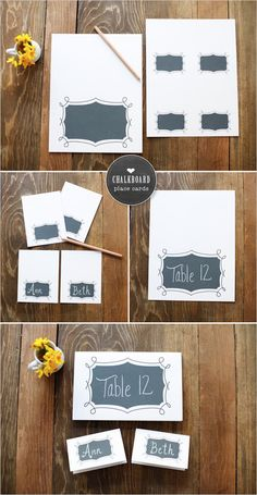 FREE Wedding Printables Chalkboard place cards and Table numbers