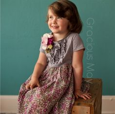 Gracious May Wild Berry Day Dress  - Baby Toddler Childrens Flower Girl Ruffle Knitwear Gray Fuchsia Pale Pink t-shirt Stretch Knit. $60.00, via Etsy.