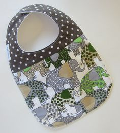 Baby Boy Bibs - Elephant Baby Bib / Retro Baby / Designer Fabric Dibble Bibs / Ready to SHIP on Etsy, $12.00