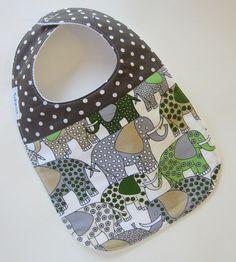 Baby Boy Bibs - Elephant Baby Bib / Retro Baby / Designer Fabric Dibble Bibs / Ready to SHIP on Etsy, $12.00