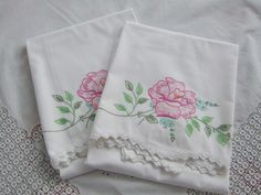 Vintage pillow cases pillowcases Mr Mrs yellow embroidery decor farmhouse bedding lines bedding fabric craft