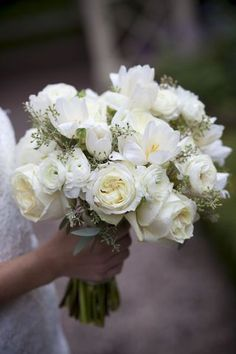 Bridal Bouquet of White Garden Roses, Ranunculus and Tulips - not bad...