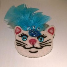 Cat Brooch Needle felted cat lovers gift  Blue feather hat