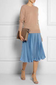 ROCHAS Pleated silk crepe de chine skirt