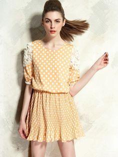 pretty yellow polka dot dress - YES!