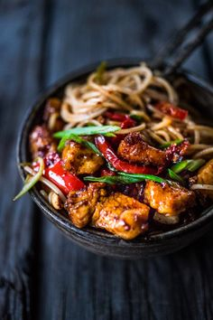 A simple delicious recipe for Kung Pao Noodles that can be made with chicken, tofu. fish or vegetables, served over noodles.   www.feastingathome.com