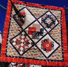 Handmade Patchwork Quilt Traditional Asian Themed Hand Quilted Lap/Throw Size