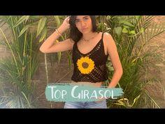 Top Girasol -a crochet- Crochet Summer Tops, Crochet Top, Crochet Videos, Crop Tops, Tank Tops, Crochet Patterns, T Shirts For Women, Knitting, Video Tutorials