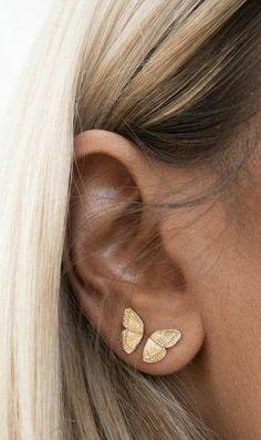 Ear Jewelry, Cute Jewelry, Jewelery, Jewelry Accessories, Jewellery Earrings, Trendy Accessories, Jewellery Making, Pretty Ear Piercings, Ear Piercings Chart