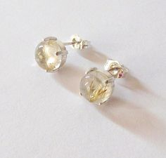 Gold Rutilated Quartz Earrings Sterling by SendingLoveGallery