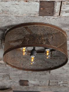 With a rusted steel finish and three lampholders featuring LED bulbs that are fully dimmable. Flush Lighting, Pendant Lighting, Ceiling Panels, Ceiling Lights, Steel House, Steel Mesh, Industrial Style, Drums, Rustic