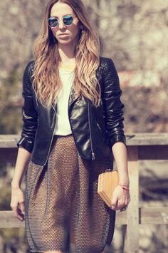 #streetstyle #muserebelle #fashionblogger #carven #athens #bikerjacket #black #yellow #fashion #style