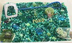 Counting Coconuts: July Sensory Tub - Pond Nice way to do a sensory bin--love the idea of including letters POND Sensory Tubs, Sensory Boxes, Sensory Activities, Sensory Play, Activities For Kids, Indoor Activities, Aquarium Rocks, Aquarium Gravel, Preschool Science