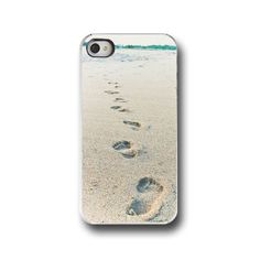 Beach, iPhone 5 4 4s Case, Footprints, Ocean, Solitude, Tan, Cell Phone Case, Accessory for iPhone 5 4 4s on Etsy, $32.00