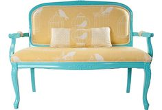 Love the idea of refinishing/painting an antique piece and modernizing it with bright colors and modern funky fabrics. This is eclectic french style.  Caged Bird Settee w/ Pillow