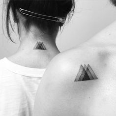 Matching tattoos for charming sisters, thanks! #ikaatattoo #dotwork #triangles…