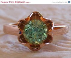 Mothers Day Sale... Precision Cut Merelani Mint Garnet in Rose Gold Buttercup Ring on Etsy, $1,795.50